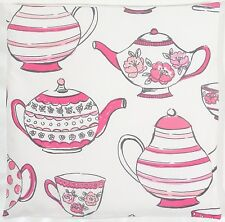 Clarke & Clarke-Studio G-Teatime Teapots Pink Cushion Cover Size Choice