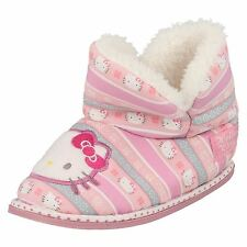 Girls Hello Kitty Pink Faux Fur Lined Booties/Boot Slippers