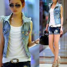Women Frayed Cardigan Denim Jean Vest Waistcoat Jacket Coat Outerwear Vintage