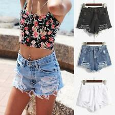 Women Girl Denim Shorts High Waist Tassel Hole Short Jeans Hot Pants Bottoms SML