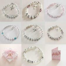 Sterling Silver Personalised First Holy Communion Bracelets for Girls with Name
