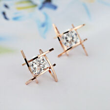New Fashion Women Girls Crystal Rhinestone Square Ear Studs Earrings Jewelry
