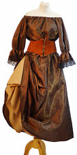 Les Mis-Victorian-Pirate-LADIES BROWN TAFFETA COSTUME LEATHER BELT & PETTICOAT