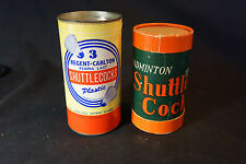 Old Vtg (2) Shuttlecocks Original Badminton Containers W/ Rubber Bottom Birdies
