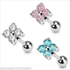 """1 PC 16g 1/4"""" 4 Section 6MM CZ Flower Tragus Cartilage Barbell  Stud Earring"""