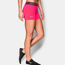 Under Armour Womens Pink HeatGear Running Gym Fitted Shorts Pants Bottoms