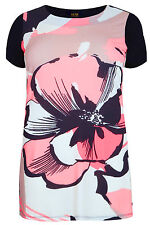 Yoursclothing Plus Size Womens Pansy Print Longline Top