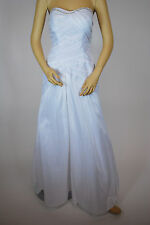 Lady Taffeta Beaded Strapless Long Wedding Formal Evening Ball Party White Dress