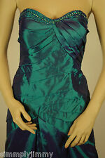 Lady Taffeta Beaded Strapless Prom Formal Evening Debut Party Hunter Green Dress