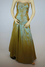 Lady Taffeta Beaded Strapless Prom Formal Debut Evening Party Brass/Gold Dress