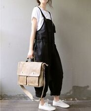 Korean New Womens Casual Jumpsuit Loose Strappy Romper Overall Linen Pants Dress