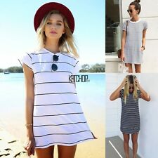 New Women Casual Crew Neck Short Sleeve Striped Loose Long Tops blouse T-Shirt