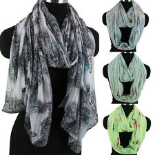 Womens Fashion Scarf Floral Butterfly Print Striped Soft Long/Infinity Scarf New