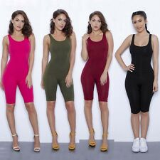 Women One-piece Tracksuit Sweat Workout Gym Tights Strap Jumpsuit Cropped Pants