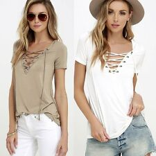 Fashion Sexy V-neck Women Pullover Tops Short Sleeve Shirt Casual Blouse T-Shirt