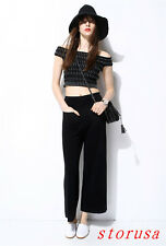 New Women Girls Wide Leg Pants Spring Summer Knitted Casual Trousers Street Size