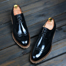 New Mens Formal Lace UP Business Brogue Dress Shoes Leather Wingtip Oxfords Shoe