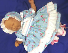 DREAM NB 0-3 3-6 BABY GIRLS BLUE FLORAL DRESS BONNET SET OR REBORN DOLLS