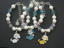 Dog charm bracelet with glass & acrylic beads - various colours - party bag