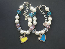Heart charm bracelet with glass & acrylic beads - various designs - party bag