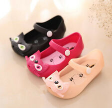 Kids Cutie Jelly Kitty Cat Sandals Shoes Baby Girls Comfy Chubby Buckle Shoes