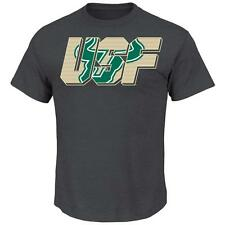Men's Charcoal Double South Florida USF Bulls Logo T-Shirt