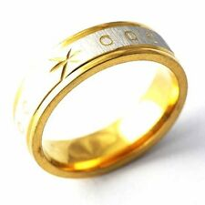 Yellow Gold Filled Carving Pattern Mens couple Fashion Ring Size 8,9,10,11,12