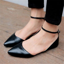 Womens Girls pointy Toe Roma Ankle Strap Ballet Flat Spring Shoes Plus Size New