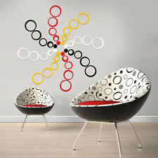New Acrylic Circles 5 Rings 3D Wall Art Decals Home Decor Removable Stickers