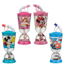 Disney Cup Minnie Mickey Cars Princess Kid Drink Straw Water Snowglobe base New