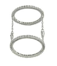 18K WHITE VERMEIL-Pave+Bezel 5A Cubic Zirconia Layered Chain Knuckle Ring