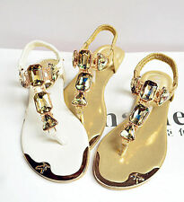 New Women Girl Boho Beach Gladiator Casual Bling Rhinestone New Sandal Flip Flop
