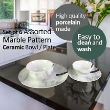 Set of 6 Assorted Marble Pattern Ceramic Bowl / Plate Kitchenware Modern Style