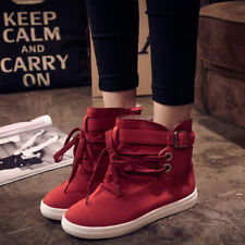 Women's Lace Up  High Top  Buckle Ankle Boots Strap Hiking Flats Canvas Shoes