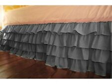 "Soft Multi Ruffle Bed Skirt Egyptian Cotton 1000 TC Drop(15"") Dark Grey Solid"