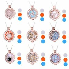 Aromatherapy Essential Oil Diffuser Retro Rose Gold Locket Necklace Pendant Gift
