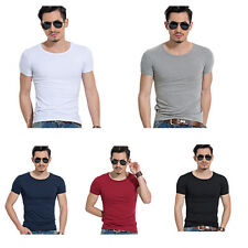 Men Casual O-Neck Muscle Short Sleeve Slim Fit Shirts T-shirt Fitness Tops Tees