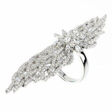 18K WHITE VERMEIL-Pave 5A VVS Cubic Zirconia Full Finger or Knuckle Ring-SS/925