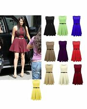LADIES WOMENS BELTED FLARED PLEATED SLEEVELESS SHORT SKATER MINI DRESS TOP 8-14