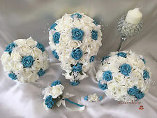 Bouquet Wedding Flowers Ivory Turquoise Rose Crystal, Bride, Flower Girl