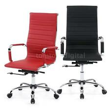 PU Leather Office Executive Chair Ergonomic Computer Desk Task Black/Red M7R2