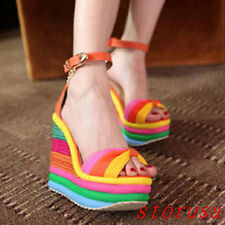 Summer Women Girls Candy Color Sandals Rainbow High Wedge Heel Platform Shoes