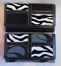 Cleto CC Brand ZEBRA PRINT Patchwork Trifold Wallet REMOVABLE Checkbook Cover