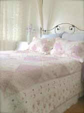 King Single Double Queen King Size Pink White Patchwork Quilt Bed Set Bedspread