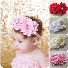 Handmade Satin Flowers Vintage Baby Girls / Girls On Elastic Headband