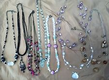 Used Costume Jewelry Beaded Floating Invisible Cord Necklace Multi Strand String