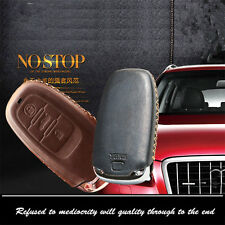 Car Remote Key Leather Car Remote Key Fob Case Holder Cover Chains Fit For Audi