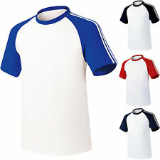 Mens Baseball Raglan Team T-Shirts Jersey Blank Tee Dry Coolon Short Sleeve Tops