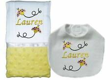 Personalized Handmade Yellow Minky Girl Ladybug Burp Cloths, Bib Burp Cloth Set