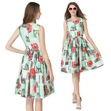 Women Lady Sundress Floral Pleated Beach Sleeveless Skater Dress Summer S5P2